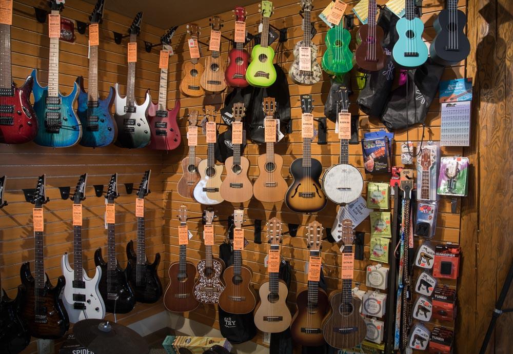 Electric Guitars, Soprano, Concert, Tenor, Baritone Ukuleles and Accessories