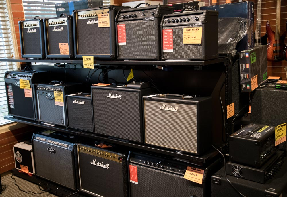 Marshall, Line 6, Peavey Acoustic, Electric and Bass Amplifiers