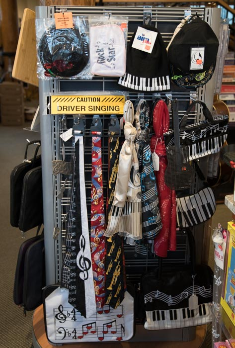 Music Gift Apparel, Scarves, Bags, Hats, Ties, Bumper Stickers,